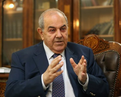 Ayad Allawi, the leader of Iraq's main Sunni-backed Iraqiya bloc and former Prime Minister is interviewed by Der Spiegel staff in Baghdad, on Wednesday, February 26, 2014. (Hadi Mizban/AP for Der Spiegel)