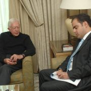 "Sami Moubayed interviewing President Carter for ""Forward Magazine"" in Damascus, December 2008."
