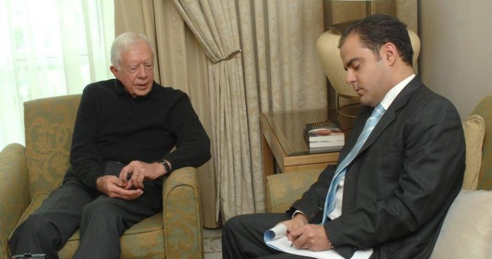 """Sami Moubayed interviewing President Carter for """"Forward Magazine"""" in Damascus, December 2008."""