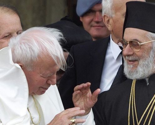 Patriarch Ignatius IV Hazim with Pope John Paul II in Damascus, May 2001.