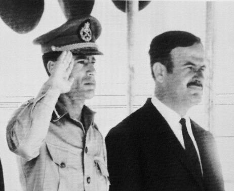 President Hafez al-Assad and Libyan leader Muammar al-Gaddafi in Damascus on 18 August 1971.