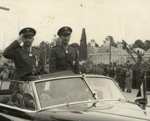 The Armenian Commander of Missile Command General Aram Karamanokian (right) with Chief-of-Staff of the Syrian Army General Tawfiq Nizam al-Din on Independence Day - Damascus April 17, 1957