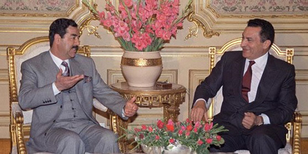Saddam Hussein and Husni Mubarak in January 1990.