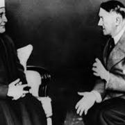 Adolph Hitler receiving Hajj Amin al-Husseini, the Grand Mufti of Jerusalem in Berlin during World War II.