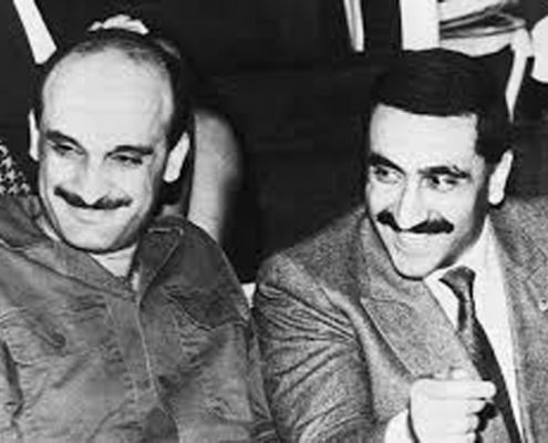 Elie Hobeika (right) with Samir Gagea during the Lebanese Civil War.