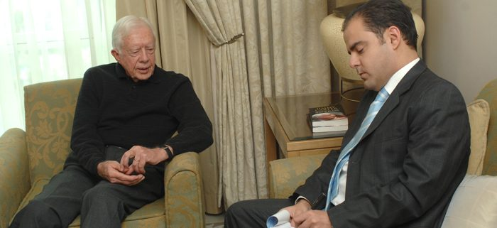 President Jimmy Carter being interviewed by Sami Moubayed at the Four Seasons Hotel in Damascus, December 2008.