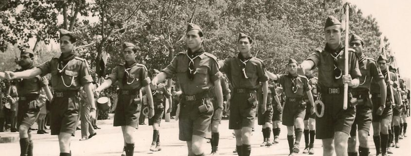 Syrian Boy Scouts parading through Damascus on Syria's 10th Independence Day in 1956.