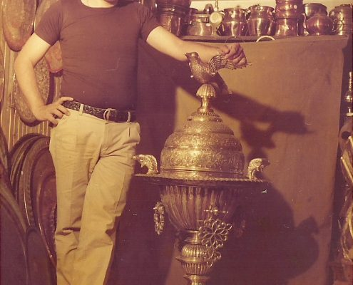 Maurice Nseiri at his shop in Damascus in the late 1970s.