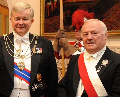 Sir Gavyn Arthur (left) at the he Guildhall Banquet.