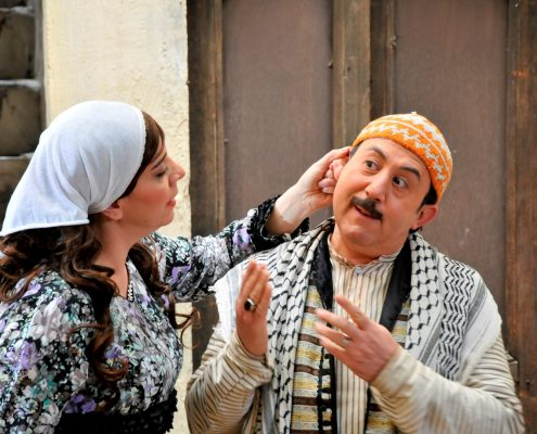 The actress Shoukran Murtaja with Abdul Wahab al-Jarrah on the set of Bab al-Hara in 2014