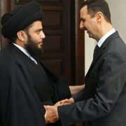06 Feb 2006, Damascus, Syria --- Syrian President Bashar al-Assad (R) welcomes Iraqi radical Shi'ite cleric Moqtada al-Sadr in Damascus February 6, 2006.    --- Image by © SANA/Reuters/Corbis
